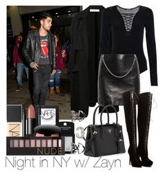"""Night in NY w/ Zayn"" by ana-a-m ❤ liked on Polyvore featuring A.L.C., Quiz, Yves Saint Laurent, NARS Cosmetics, Topshop, Bobbi Brown Cosmetics, Prada, Forever 21 and Boohoo"