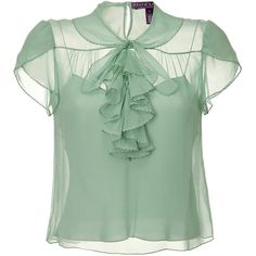 RALPH LAUREN COLLECTION Pale Seafoam Single Georgette Dapne Top (13,710 MXN) ❤ liked on Polyvore featuring tops, blouses, shirts, blusas, collared shirt, tie blouse, sheer blouse, green top and green shirt
