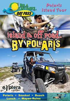 http://www.IslaCozumelDayPass.com Off-Road Action in Isla Cozumel! Tour the entire island behind the wheel of a Polaris RZR. Drive through a wildlife reserve and beach, visit Maya ruins, go snorkeling and more.
