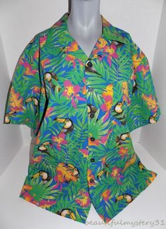 8e243a88 KEVIN'S TROPICAL TOCO TOUCAN FLORAL PRINT BUTTON FRONT HAWAIIAN SHIRT M |  Clothing, Shoes &
