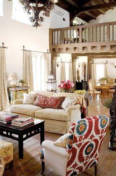 Boho living room - I love this style!