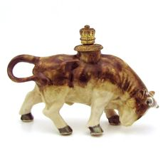 Vintage Bull German Crown Top Figural Perfume Bottle from charmalier on Ruby Lane