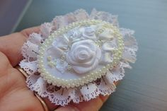 White vintage inspired victorian style romantic floral cameo brooch one of a kind handmade textile jewelry with ribbon embroidery and roses by Virvi on Etsy