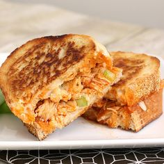 Buffalo Chicken Grilled Cheese.  So good and easy to make.
