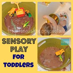 "Frogs and Snails and Puppy Dog Tail (FSPDT): ""Sensory Sink"" for toddlers{mud and bugs} toddler activities"