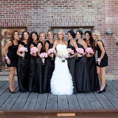 Black Bridesmaid Dresses and pink flowers.similar look. Black is so slimming and looks good on practically everyone. Lilac Bridesmaid Dresses, Black Bridesmaids, Brides And Bridesmaids, Bridesmaid Colours, Wedding Pics, Wedding Bells, Dream Wedding, Wedding Ideas, Wedding Stuff