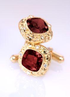 18k Gold and Diamond Garnet Cuffs by Erica Courtney®