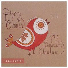 By Tiia Lehto - Guassimaalaus, lintu, piirustus, onnittelukortti, gouache painting, bird, birthday card, illustration