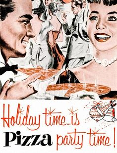 Holiday Time Is Pizza Party Detail From 1956 Appian Way Ad