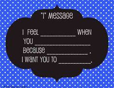 """FREE """"I"""" Message Conflict-Resolution Classroom Posters     (Other colors and variations available)"""