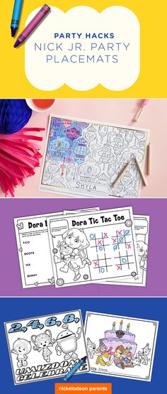 Check out these free printable place mats featuring all of your preschooler's favorite Nick Jr. friends including Dora, Shimmer and Shine, Team Umizoomi, PAW Patrol, and many more.  Print out your child's favorite character placemat for a quick and easy way to dress up your table at a birthday party.