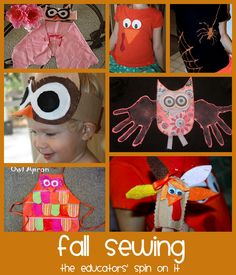 Fall Sewing Ideas for your family including Owl Costume Tutorial, Owl Apron, Owl Handprint Tshirt, Spider Tshirt, Turkey Tshirt and finger puppet!