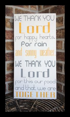 Kitchen Prayer - handpainted wood sign - We thank you Lord - typography word art - subway sign. $50.00, via Etsy.