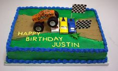 Monster Jam Cake The truck and cars are not edible. The kid the cake was made for wanted toys on his cake so he could play with them after...