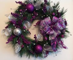 Purple and Silver Holiday Wreath by CustomCreationsMore on Etsy, $57.99
