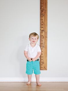 Handmade wooden growth chart with engraved inch marks. Great Christmas gift for those with littles :)