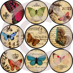 1 inch circle images vintage Butterflies, use them to make pendants, magnets, scrapbooking, cards, bottle caps projects