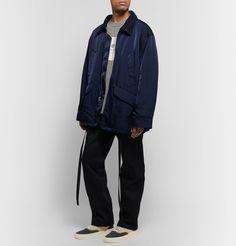 Fear Of God Oversized Nylon-twill Field Jacket In Blue Field Jacket, Rain Jacket, Oversized Jacket, S Models, Fashion News, Work Wear, Windbreaker, Trousers, God