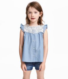 Cotton Blouse with Lace | Blue/chambray | Kids | H&M US