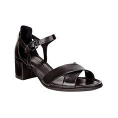 Women's ECCO Shape 35 Block Ankle Strap Sandal ($135) ❤ liked on Polyvore featuring shoes, sandals, black, casual, casual footwear, black ankle strap sandals, platform sandals, chunky heel platform sandals, black sandals and low heel ankle strap sandals
