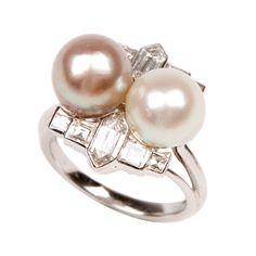1stdibs.com Fine Jewelry | Superb Art Deco Natural Pearls Diamond ring