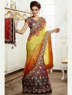 Голубой атласный индийский женский свадебный костюм — лехенга (ленга) чоли, украшенный вышивкой люрексом, скрученной шёлковой нитью