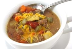 Cheeseburger in Paradise Skinny Soup :: Recipe Kitchen