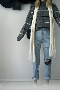 OUTFITS WITH SNEAKERS FOR THE FALL CONTINUED // Outfit 3 - Dstrssed high waisted jeans, Brandy Melville sweater, Kohls scarf, Nike Air Force 1's Outfit 4 -Urban skinny jeans, Urban top, Brandy...