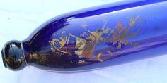 Glass Rolling Pin, Cobalt Glass, Bristol Blue Glass, Sailors Armorial Detail