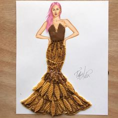 Dress made of waffles & chocolate by Edgar Artis