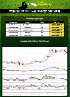 Final Furlong Software Reviews and Free Download. All you do is select the date and stake and this incredible software does the rest, by selecting the most profitable bet selections from the days racing. A lot of time and money has gone into developing this software and the results speak for themselves that it has been time and money well spent. Easily the best decision I made getting this software, no more hours sat trying to decide my bets now, thanks Garry!!