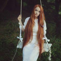 long ginger hair