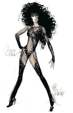 """The revealing """"Turn Back Time"""" lets Cher bare and share her image. • Bob Mackie helps Cher light up the Vegas stage Also in Image: • The Big Deal: Shoe bargains to get lost in • Bob Mackie, Cher Costume, Divas Pop, Costume Design Sketch, Theatre Costumes, Ballet Costumes, Movie Costumes, Halloween Costumes, Snap Out Of It"""