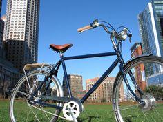 Big Blue Swift against the Boston Sky. A sturdy city bike for getting around.     www.dbccitybikedesign.com