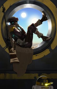 Rebel Sniper/Soldier (Possibly Jyn Erso) Sitting in a Round Window