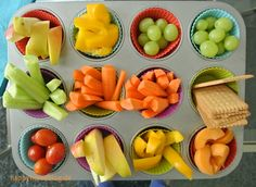 Rohkost und Obst der perfekte Snack für Kinder. Besonders beliebt als Bar in einer Muffinbackform