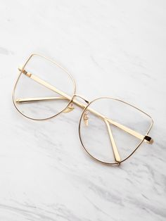 53481fab7a Flat Lens Cat Eye Glasses by  ROMWE Eye Glasses Online