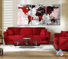 LARGE 30x 60 3 Panels Art Canvas Print Watercolor by BoxColors