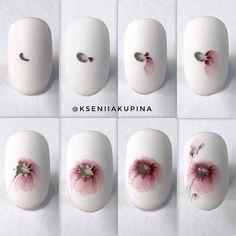 Master class watercolor nai art Flower by Ksenia Kupina Russia Painted Nail Art, Nail Art Hacks, Nail Art Diy, Diy Nails, Nail Art Fleur, Water Color Nails, Nail Techniques, Nailart, Gel Nail Designs