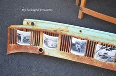 A rusty car part becomes a photo display