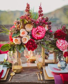 Vibrant, romantic bohemian wedding tablescape