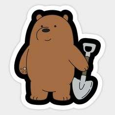 Grizzly - We Bare Bears Grizzly - Sticker Tumblr Stickers, Cool Stickers, Bear Wallpaper, Pattern Wallpaper, Rick And Morty Stickers, We Bare Bears Wallpapers, Rick Y Morty, Kawaii Doodles, We Bear
