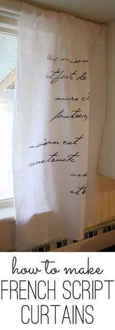 French Script Curtains - cheap and easy! www.theshabbycreekcottage.com #curtains #easysewing #sewing