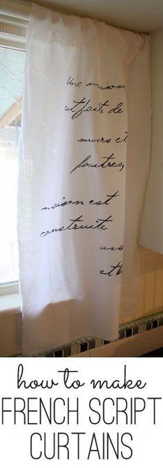 DIY French Script Curtains