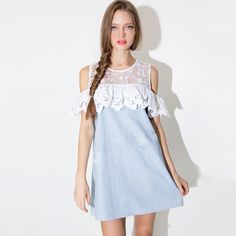 Newest Round Neck Summer Dress Women 2017 New Cute Lace Patchwork A Line Beach Dresses Sexy Off The Shoulder Party Dresses