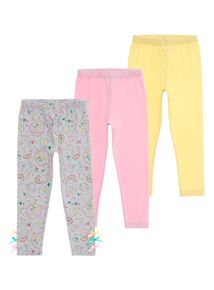 Girls Multicoloured Leggings 3 Pack (9 months - 5 years)