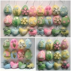 Please NOTE!!! This is pre-order for Easter 2018. Order will be finished in January. ------------------------------------------------------ Pastel Felt Easter decoration - felt eggs with flowers, birds and sheep/ set of 12 or 24 Listing is for 12 ornaments - 3 in baby blue - 3 in baby