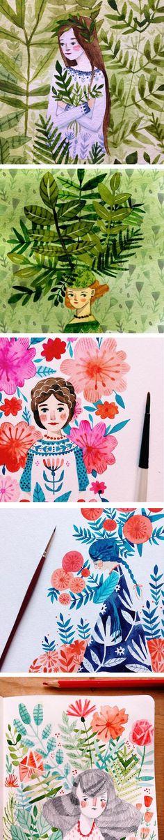 Folk-inspired illustrations by Abigail Halpin   modern illustration | watercolor | floral illustration | illustrated ladies