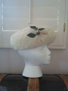 Vintage 1960s White Fur Pillbox Hat Designed by SofiasCobwebMuseum..$25