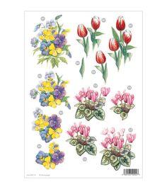 Craft UK 3-D Die-Cut Decoupage Sheet Floral Line 000114